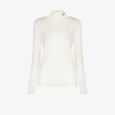 032c - Logo Embroidered Knitted Turtleneck Top