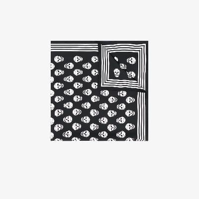 Alexander McQueen - Black Biker Skull Print Silk Scarf