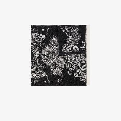 Alexander McQueen - Black Moth And Skull Wool Scarf