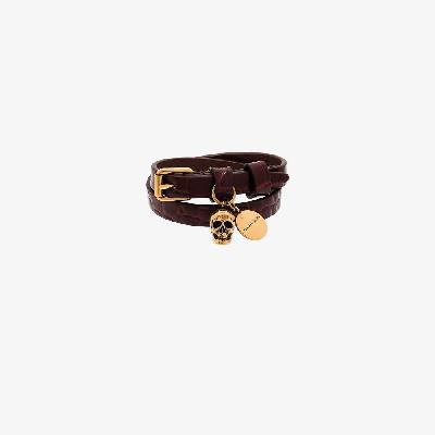 Alexander McQueen - Brown Skull Wrap Mock Croc Leather Bracelet
