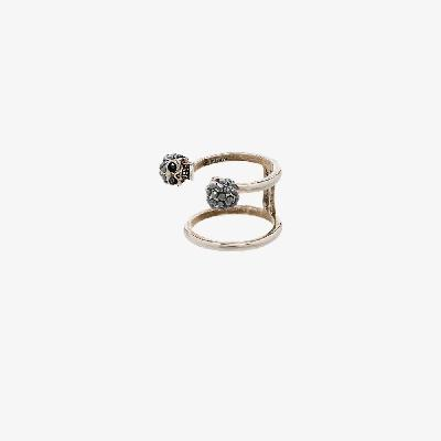 Alexander McQueen - Silver Tone Twin Skull Ring