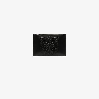 Alexander McQueen - Black Ribcage Leather Pouch Bag