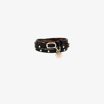 Alexander McQueen - Black Studded Skull Wrap Bracelet