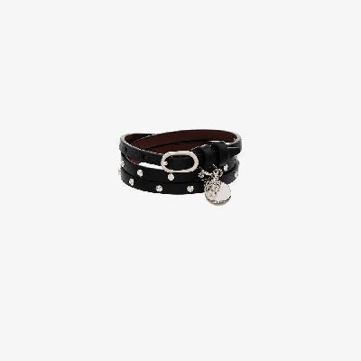 Alexander McQueen - Black Studded Skull Wrap Leather Bracelet