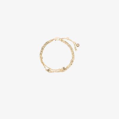 Alexander McQueen - Gold Tone Skull Double Chain Bracelet
