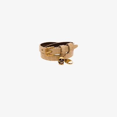 Alexander McQueen - Neutral Skull Wrap Mock Croc Leather Bracelet