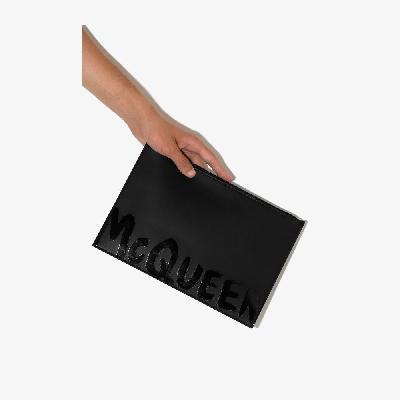 Alexander McQueen - Black Graffiti Leather Pouch Bag