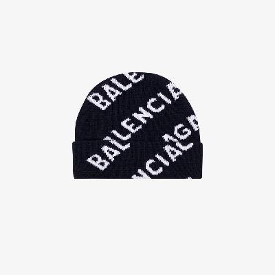 Balenciaga - Navy Logo Beanie Hat