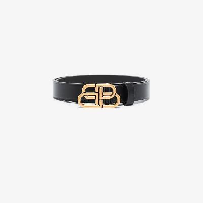 Balenciaga - Black BB Buckle Leather Belt