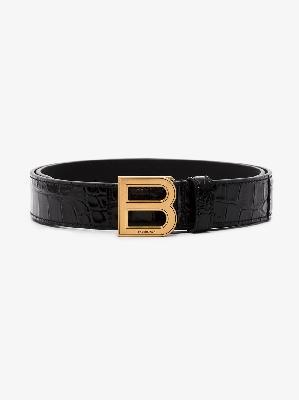 Balenciaga - Black Hourglass Mock Croc Leather Belt