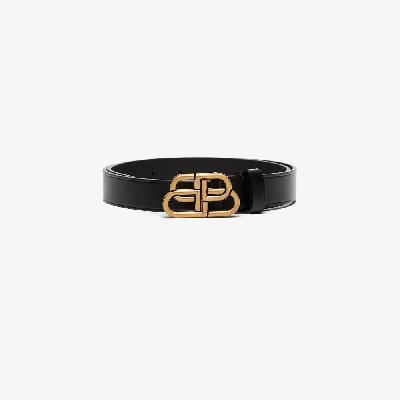 Balenciaga - Black BB Logo Leather Belt