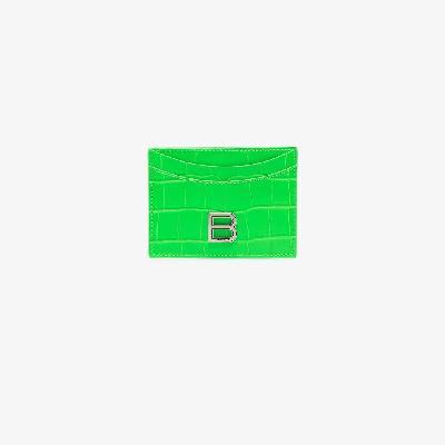 Balenciaga - Green Hourglass Leather Logo Card Holder