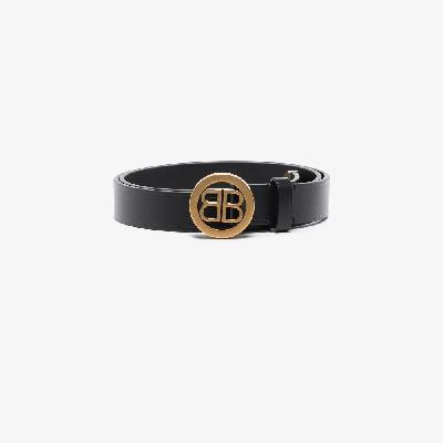 Balenciaga - Black Circled BB Leather Belt