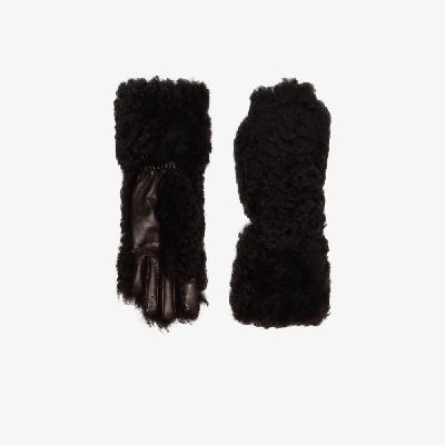 Bottega Veneta - Brown Shearling Leather Gloves