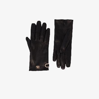 Dolce & Gabbana - Short Leather Logo-Plaque Gloves
