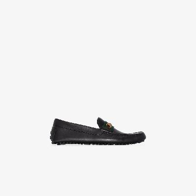 Gucci - Black Web Detail Leather Driving Loafers