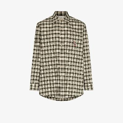 Gucci - Embroidered Check Cotton Shirt