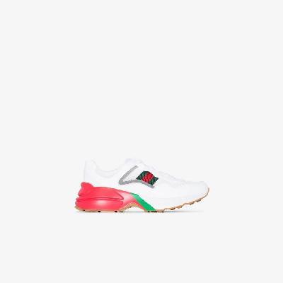 Gucci - White Rhyton Web Logo Leather Sneakers
