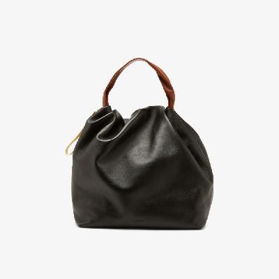 Jil Sander - Black Soft Crush Large Leather Shoulder Bag