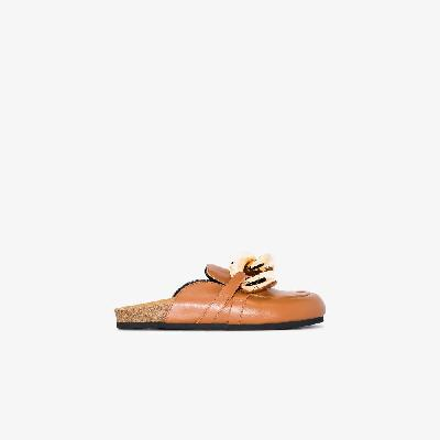 JW Anderson - Brown Chain Leather Loafer Mules