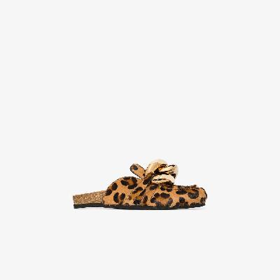 JW Anderson - Brown Chain Leopard Print Mules