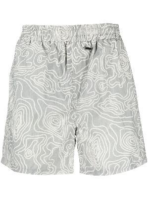 032c abstract-print swim shorts