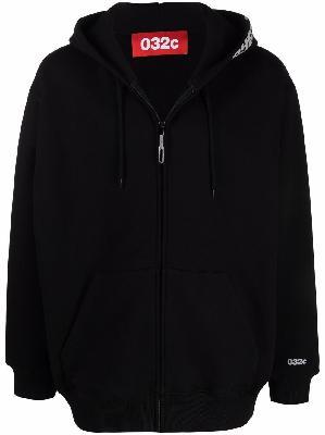 032c logo-print zip-up hoodie