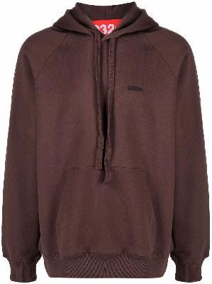 032c organic cotton logo-print hoodie