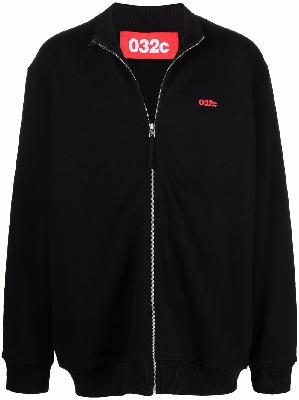 032c logo-print organic cotton jersey bomber jacket