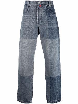 032c colour-block straight-leg jeans