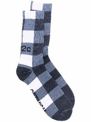 032c check-print ankle socks