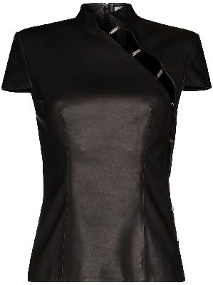 032c cutout short-sleeve leather top