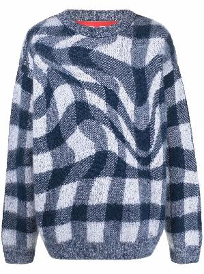 032c check knitted crew-neck jumper