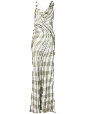 032c Maria checked long dress