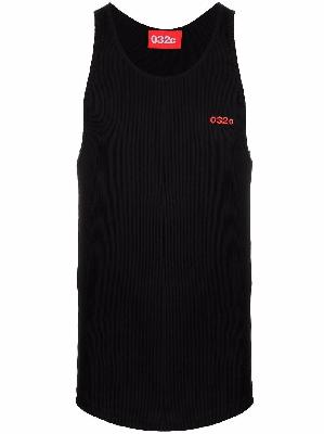 032c logo-embroidered ribbed tank top