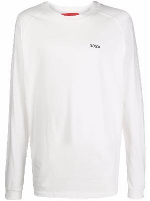 032c logo-print organic cotton long-sleeve T-shirt