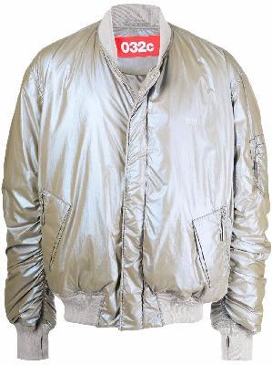 032c metallic-effect padded bomber jacket