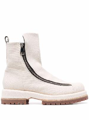 424 zip-up leather ankle boots