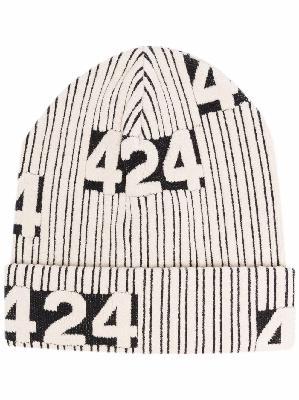 424 logo-intarsia beanie