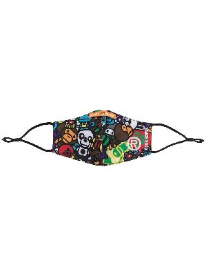 A BATHING APE® graphic-print face mask
