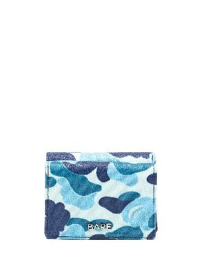 A BATHING APE® logo-plaque camouflage leather wallet