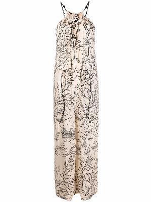 Aeron leaf-print sleeveless jumpsuit