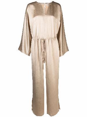 Aeron long-sleeve satin-effect jumpsuit