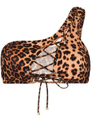 Agent Provocateur leopard print one-shoulder bikini top