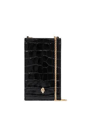 Alexander McQueen skull-plaque crocodile-effect phone pouch 16x9.5cm