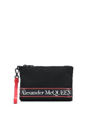 Alexander McQueen logo stripe zipped clutch