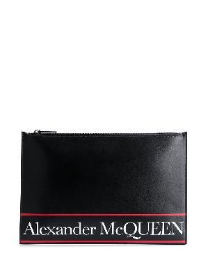 Alexander McQueen logo stripe clutch bag