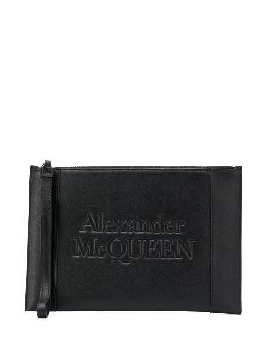 Alexander McQueen logo-embossed zip clutch