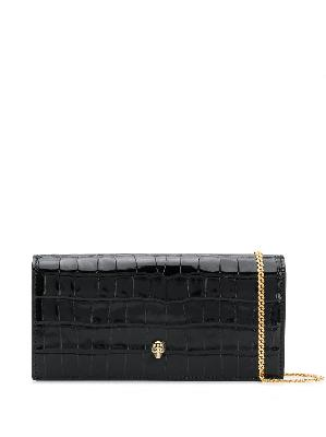 Alexander McQueen crinkled leather clutch bag