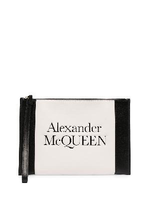 Alexander McQueen embossed logo colour block clutch